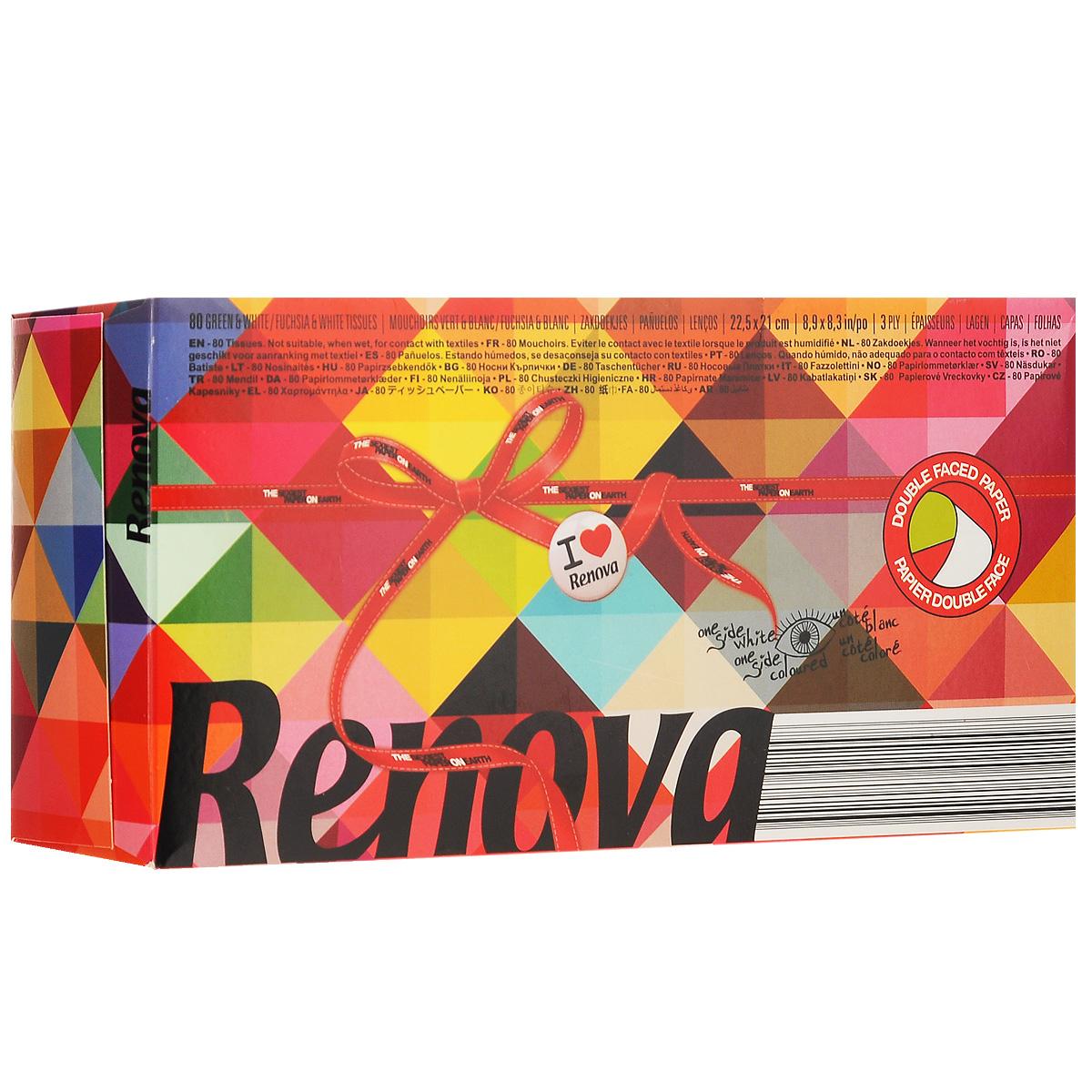 Платочки бумажные Renova Maxi 2 Color, без запаха, трехслойные, цвет: белый, розовый, зеленый, 80 шт200067196Бумажные гигиенические платочки Renova Maxi 2 Color, изготовленные из 100% натуральной целлюлозы, подойдут как взрослым, так и детям. Они обладают уникальными свойствами, так как всегда остаются мягкими на ощупь, прочными и отлично впитывающими влагу и могут быть пригодными в любой ситуации. Яркие бумажные платочки Renova Maxi 2 Color не имеют запаха. Платочки двусторонние. С одной стороны они белые, с другой зеленые и розовые. Удобная красивая упаковка позволит разместить салфетки на видном месте. Количество слоев: 3. Размер листа: 22,5 см х 21 см. Количество листов: 80 шт. Португальская компания Renova является ведущим разработчиком новейших технологий производства, нового стиля и направления на рынке гигиенической продукции. Современный дизайн и высочайшее качество, дерматологический контроль - это то, что выделяет компанию Renova среди других производителей бумажной санитарно-гигиенической продукции....