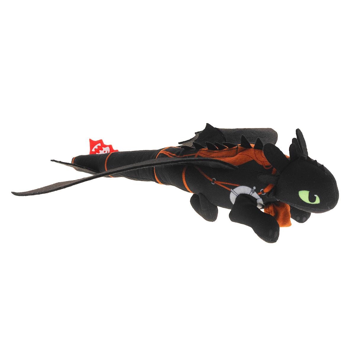 Мягкая игрушка Dragons Беззубик, запускается и летит, 36 см66592Мягкая плюшевая игрушка Dragons Беззубик вызовет улыбку у каждого, кто ее увидит. Игрушка выполнена из приятного на ощупь текстильного материала в виде черного дракона - точной копии доброго дракона из мультфильма Как приручить дракона 2. У игрушки большие глазки и широкие крылья. Плюшевый Беззубик запускается рукой по принципу рогатки благодаря встроенному механизму. При этом воспроизводятся звуковые эффекты. Эта забавная игрушка принесет радость и подарит своему обладателю мгновения приятных воспоминаний. Такая игрушка станет отличным подарком вашему ребенку! Для работы игрушки необходимы 3 батарейки напряжением 1,5V типа АG13 (входят в комплект).