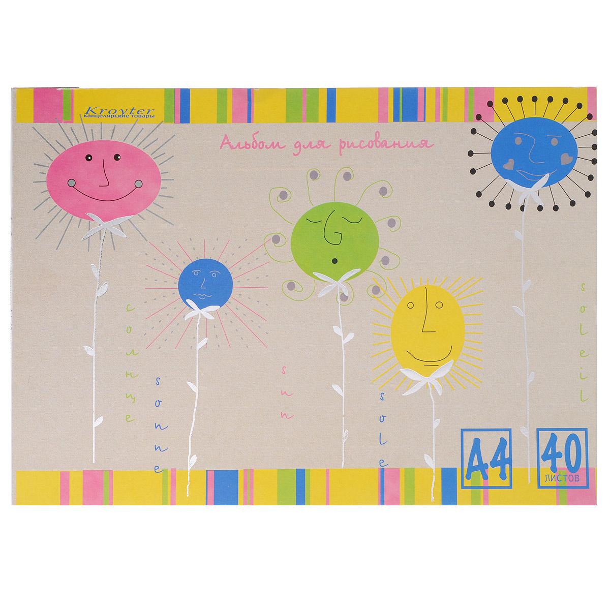 Альбом для рисования Kroyter, 40 листов, формат А401348Альбом Kroyter предназначен для рисования, художественно-графических работ и детского творчества. Внутренний блок состоит из офсетной бумаги. Обложка альбома выполнена из мягкого картона с ярким цветным рисунком. Тип крепления листов - склейка.