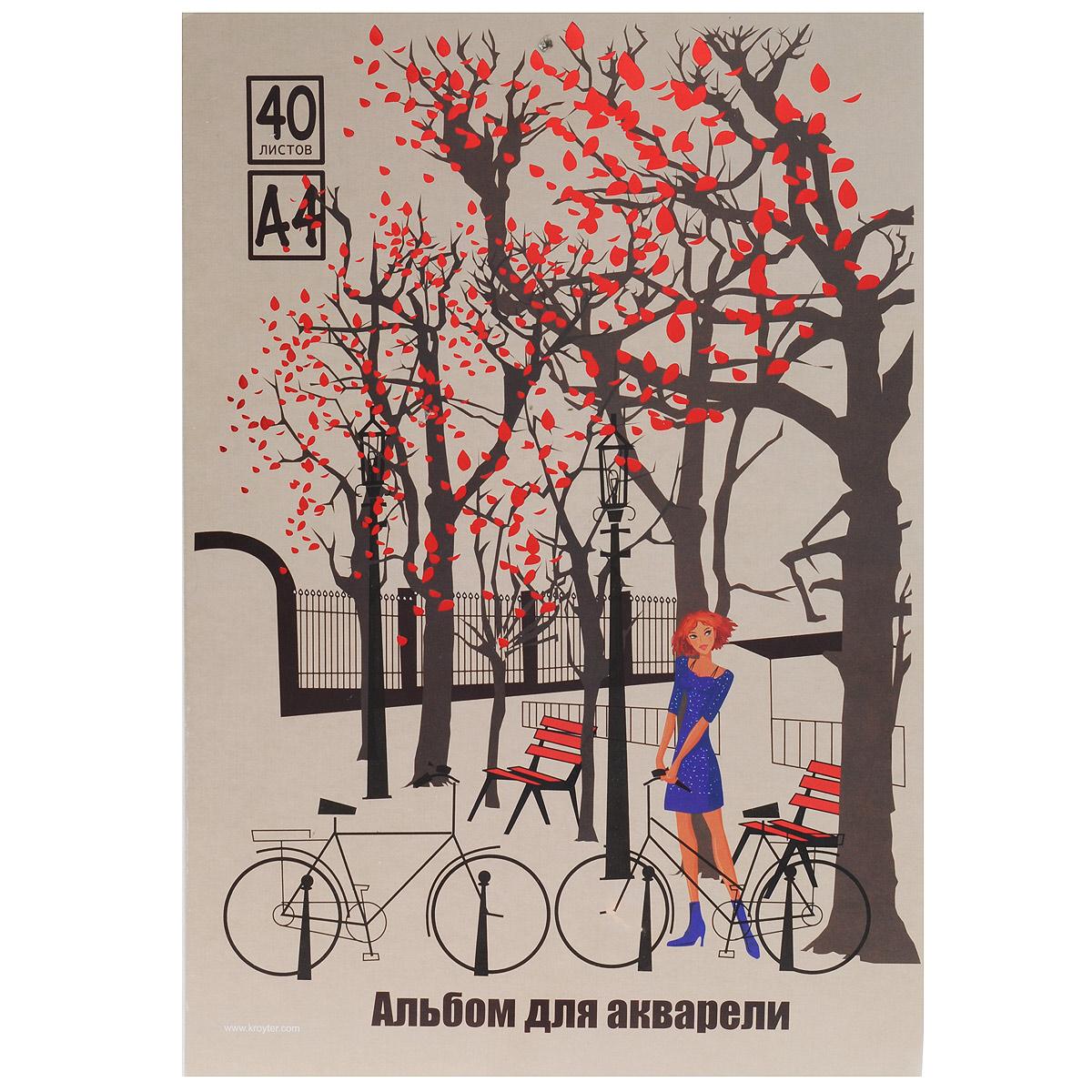 Альбом для рисования акварелью Kroyter, 40 листов, формат А460120Альбом Kroyter на картонном планшете предназначен для рисования акварелью, художественно-графических работ и детского творчества. Внутренний блок состоит из офсетной бумаги. Обложка альбома украшена ярким цветным рисунком. Тип крепления листов - склейка.