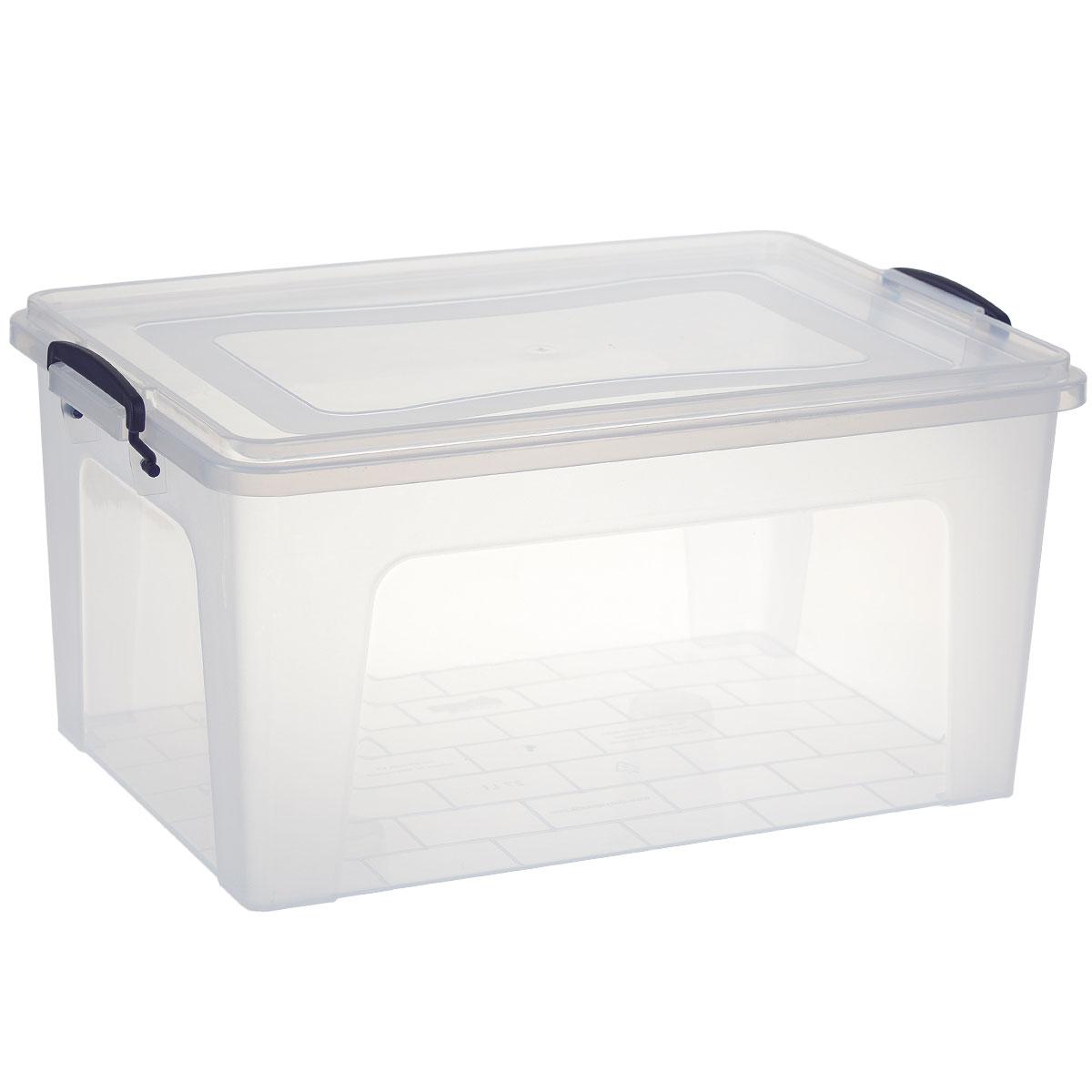 Контейнер Dunya Plastik Clear Box, цвет: прозрачный, синий, 27 л30166Контейнер Dunya Plastik Clear Box выполнен из прочного пластика. Он предназначен для хранения различных вещей. Крышка легко открывается и плотно закрывается. Прозрачные стенки позволяют видеть содержимое. По бокам предусмотрены две удобные ручки, с помощью которых контейнер закрывается. Контейнер поможет хранить все в одном месте, а также защитить вещи от пыли, грязи и влаги. Размер контейнера (с учетом крышки): 48 см х 32 см. Высота (с учетом крышки): 23 см. Объем: 27 л.