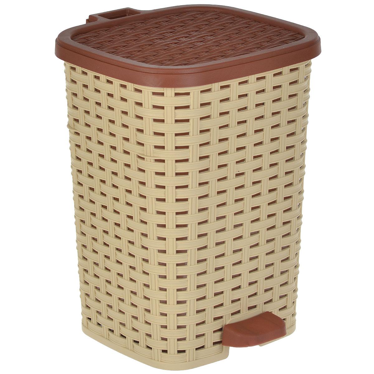 Ведро для мусора Dunya Plastik Раттан, с педалью, цвет: бежевый, коричневый, 12 л1053_бежевый-коричневыйВедро для мусора Dunya Plastik Раттан, выполненное из прочного пластика, обеспечит долгий срок службы и легкую чистку. Ведро поможет вам держать мелкий мусор в порядке и предотвратит распространение неприятного запаха. Откидная пластиковая крышка открывается и закрывается при помощи педали. Изделие выполнено в виде плетеной корзины с пластиковой вынимающейся емкостью для мусора внутри. Размер ведра (по верхнему краю): 24 см х 22 см. Высота (без учета крышки): 33 см. Высота (с учетом крышки): 34,5 см.
