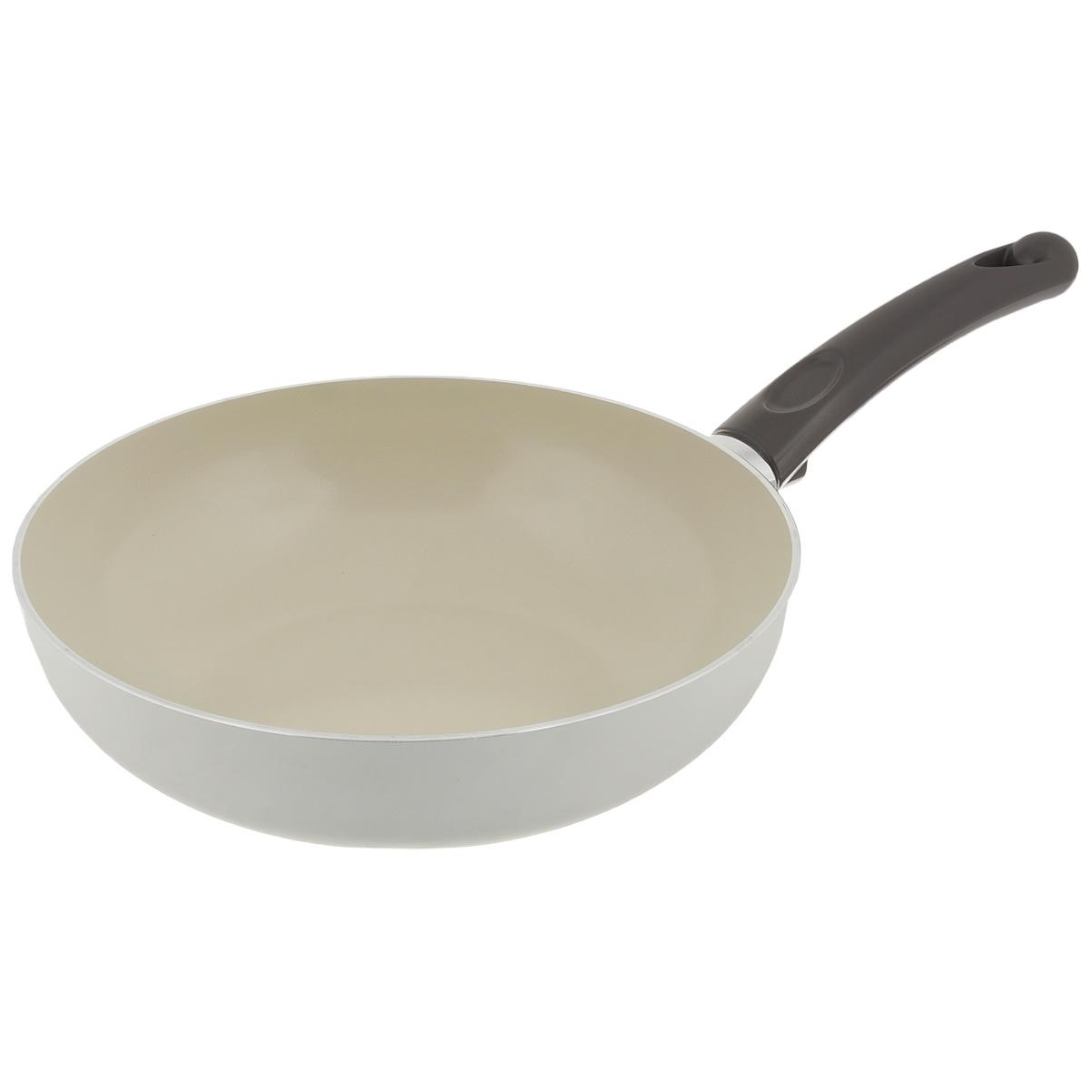 Сковорода-вок TVS Bianca, с антипригарным покрытием, цвет: молочный. Диаметр 27 см4L105272916701Сковорода-вок TVS Bianca выполнена из алюминия с внешним эмалированным покрытием молочного цвета и обладает превосходной теплопроводностью. Идеально подходит для жарки и тушения блюд. Внутреннее антипригарное керамическое покрытие Ceramit позволяет готовить пищу с минимальным количеством масла. Эргономичная ручка, изготовленная из бакелита, имеет плавные формы, которые подчеркивают стиль сковороды. Сковорода-вок TVS Bianca изготовлена из экологичных материалов, что делает ее пригодной для приготовления пищи детям. Подходит для всех видов плит, кроме индукционных. Можно мыть в посудомоечной машине. Коллекция посуды Bianca - серия кухонной посуды с керамическим покрытием Ceramit. Отличается своей экологичностью и непревзойденной непористой гладкой антипригарной поверхностью молочного цвета. Компания TVS была основана в 1968 году. Основными принципами, которых придерживается компания, являются экологическая безопасность производства,...