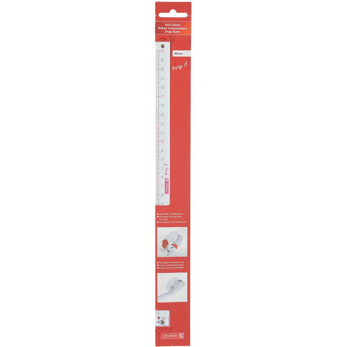 Линейка-рулетка Brunnen, 30 см49785\226523\BCDЛинейка-рулетка Brunnen длиной 30 см изготовлена из металла и предназначена для использования при проведении точных работ. Шкала и цифры выполнены в черном и розовом цвете. Линейка легко скручивается в компактную рулетку.