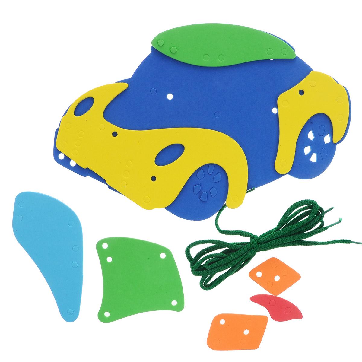 Игра-шнуровка Фантазер Машина103012С мягким конструктором Фантазер Машина ваш малыш будет часами занят игрой. Набор включает 9 фигур разных форм, шнурок. Все элементы выполнены из мягкого, травмобезопасного и экологичного полимерного материала. Особый материал дает юному конструктору новые удивительные возможности в игре: гнется, но не ломается, детали всегда можно состыковывать. Серия Шнуровка развивает воображение и пространственное мышление. Безопасен для всех - по нему можно даже ходить босиком и брать с собой в ванну.