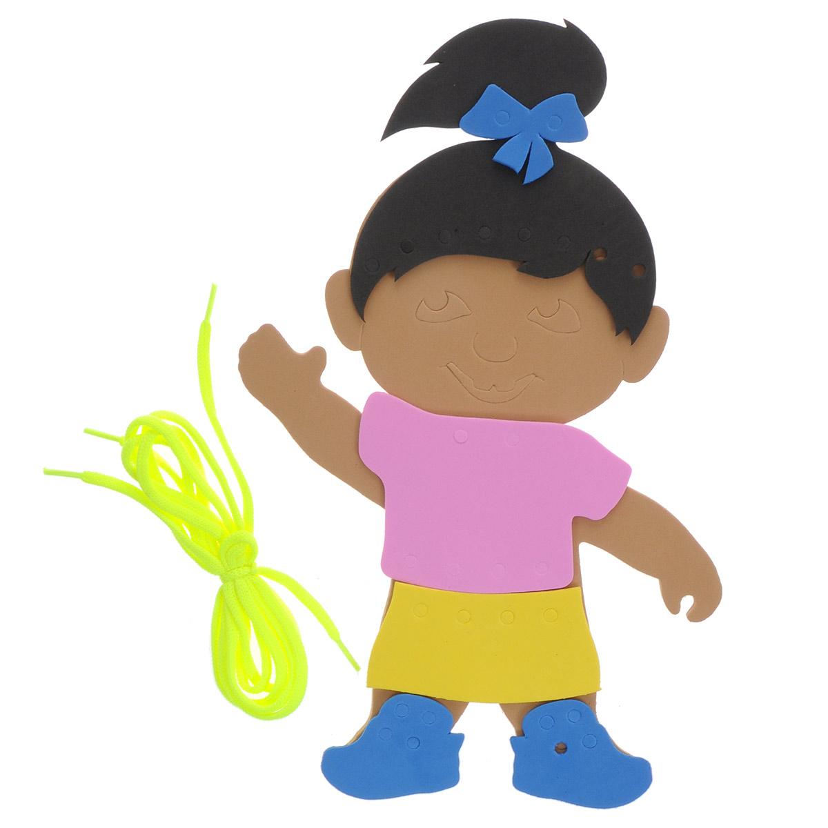 Игра-шнуровка Фантазер Девочка103004С мягким конструктором Фантазер Девочка ваш малыш будет часами занят игрой. Набор включает 8 фигур разных форм, шнурок. Все элементы выполнены из мягкого, травмобезопасного и экологичного полимерного материала. Особый материал дает юному конструктору новые удивительные возможности в игре: гнется, но не ломается, детали всегда можно состыковывать. Серия Шнуровка развивает воображение и пространственное мышление. Безопасен для всех - по нему можно даже ходить босиком и брать с собой в ванну.
