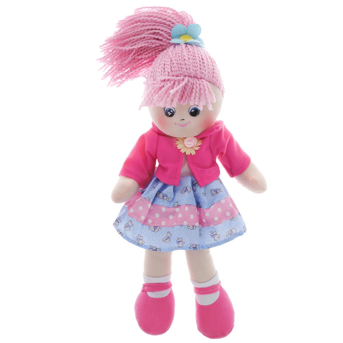 Мягкая игрушка Gulliver Кукла Земляничка, 40 см30-BAC6890Кукла Земляничка - это ягодная куколка, похожая на героиню мультфильма. Она имеет очень веселый и радостный вид и поднимет любому ребенку настроение, даже самому капризному. Личико куклы очень доброе, с вышитыми на нем глазами, ротиком, носом и бровками. Волосы Землянички - это нежно-розовые веревочки, убранные в высокий хвост и завязанные резинкой с цветочком. На кукле очень красивое стильное платье с малиновой жилеткой и украшением на ней. Одежда легко снимается с помощью липучки, расположенной сзади. На ножки пришиты белые носки и обута кукла в розовые туфли, которые не снимаются с нее и держатся очень крепко. Кукла изготовлена из приятной на ощупь ткани и набита практически невесомым наполнителем. Мягкие игрушки Gulliver действуют позитивно на растущий детский организм, обучая ласке и доброте, улучшают настроение ребенка, развивают тактильную чувствительность, стимулируют зрительное восприятие, хватательные рефлексы и моторику рук. Продукция...