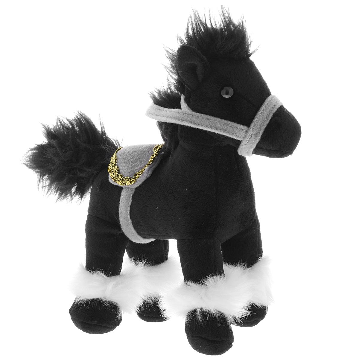 Gulliver Мягкая игрушка Лошадка, стоячая, цвет: черный, 20 см