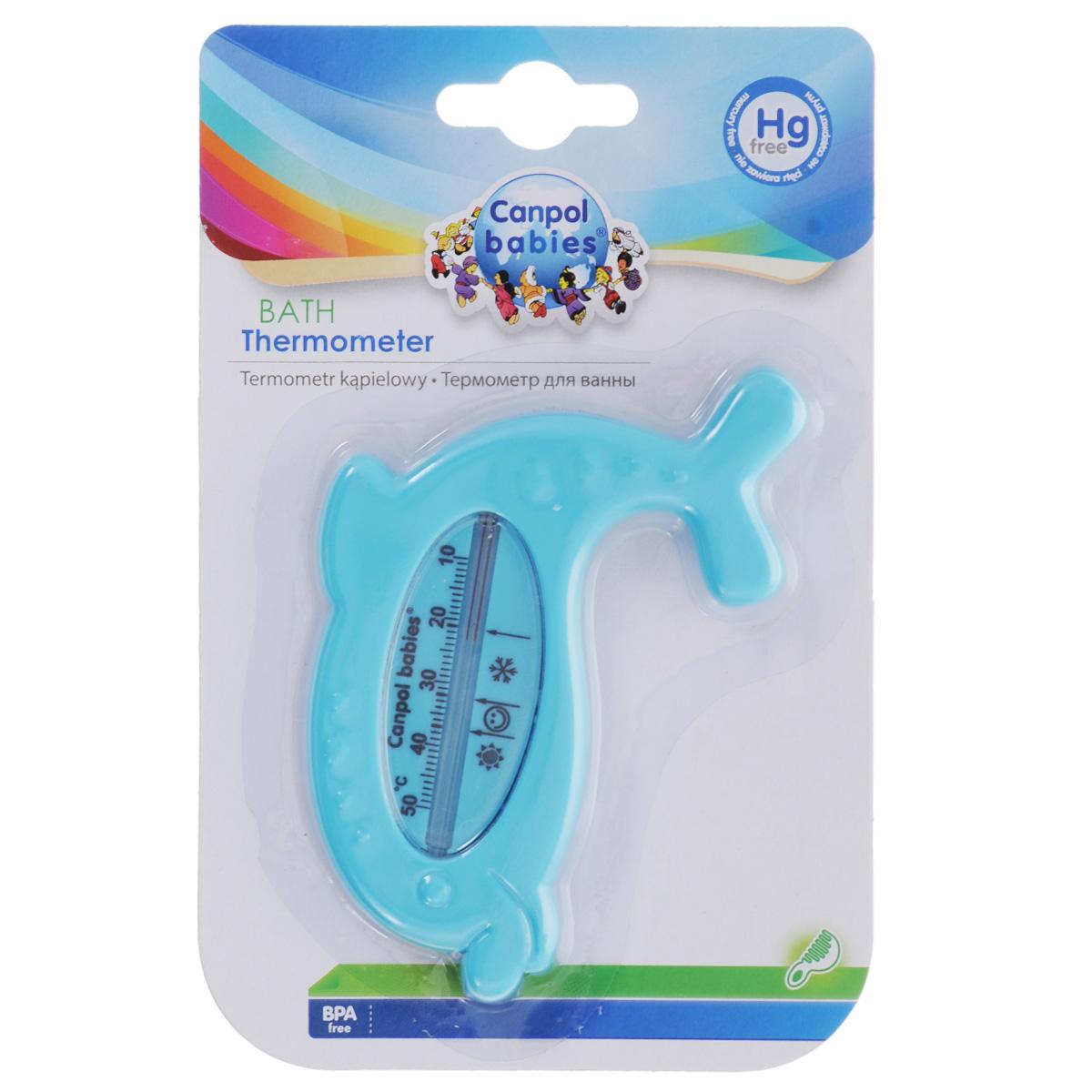 Canpol Babies Термометр для ванны цвет голубой2/782_голубой дельфинТермометр для ванны Canpol Babies в форме дельфина позволяет очень точно измерять температуру воды. Не содержит ртути, что обеспечивает безопасность использования. Оптимальная температура воды для ребенка около 37°С, отмечена на шкале изображением смайлика. Шкала температуры в Цельсиях, от +10°С до +50°С.