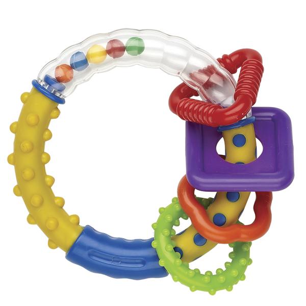 Погремушка Мир детства Веселая геометрия21356Погремушка Мир детства Веселая геометрия доставит малышу и пользу, и радость! Погремушка выполнена из безопасного пластика и представляет собой кольцо, на котором расположены четыре рельефных колечка разных форм и цветов. С одной стороны, они играют роль прорезывателя, нежно массируя десны, когда у ребенка начинают резаться зубки. С другой стороны, они выступают в роли погремушки. Погремушка способствует развитию слуха, мелкой моторики, концентрации внимания, воображению, цветового восприятия, контролируемые хватательные движения. УВАЖАЕМЫЕ КЛИЕНТЫ! Обращаем ваше внимание на ассортимент в цветовом дизайне товара. Поставка осуществляется в зависимости от наличия на складе.