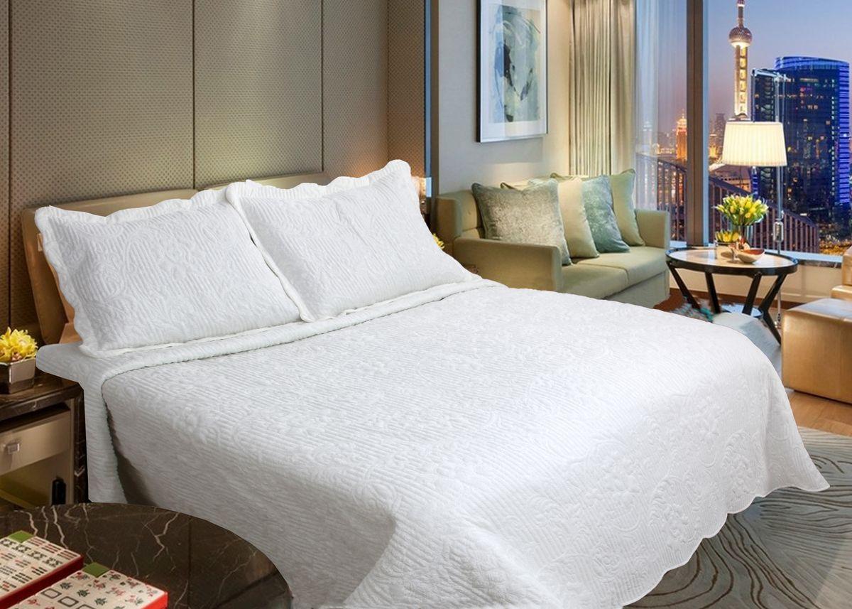 """Комплект для спальни Buenas Noches """"Verona"""": покрывало 230 х 250 см, 2 наволочки 50 х 70 см, цвет: кремовый"""