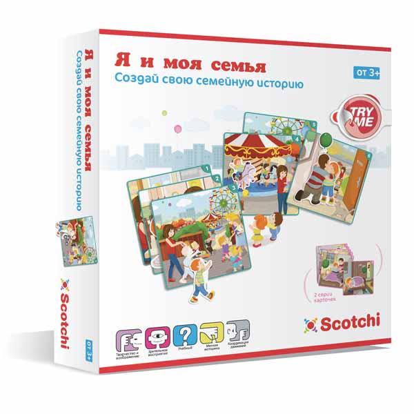 Scotchi Развивающая игра Я и моя семья20033Набор Scotchi Я и моя семья - игра которая научит ребенка логически мыслить. Правильно подбирая карточки, малыш учится воссоздавать ситуацию, обозначенную на коробке. Складывая карточки за карточками, получается целая история, в данном случае, малыш сможет придумать или визуально показать как проходит его обычный семейный день. В набор входит: 2 серии (6 карт в каждой последовательности). 12 фигур.