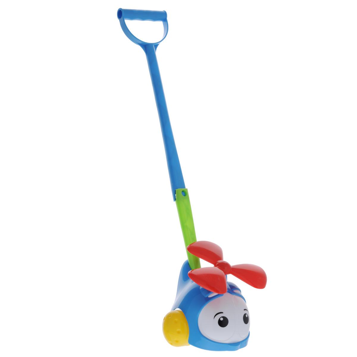 Игрушка-каталка Вертолетик, цвет: синий1376Яркая игрушка-каталка Вертолетик будет побуждать вашего ребенка к прогулкам и двигательной активности. Она подойдет для игры как дома, так и на свежем воздухе. Игрушка выполнена из полипропилена в виде милого вертолетика. Ребенок сможет катать игрушку, толкая ее перед собой, что позволит развить навык ползанья. Удобная съемная ручка-толкатель даст ребенку возможность не расставаться с любимой игрушкой, когда он научится ходить. Во время движения у вертолетика крутится винт. Игрушка-каталка Вертолетик развивает у ребенка пространственное мышление, цветовое восприятие, ловкость и координацию движений, тактильные ощущения, память, внимание и слух.