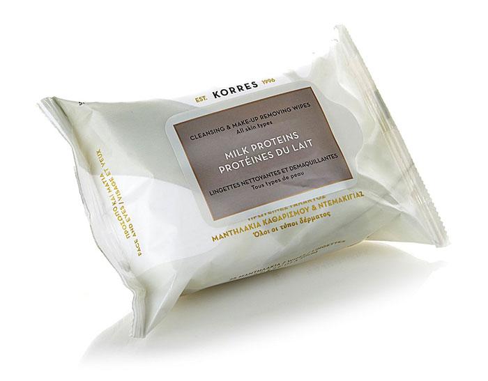 Korres Салфетки для снятия макияжа, с молочными протеинами, для всех типов кожи, 25 шт5203069046179Освежающие мягкие салфетки для снятия макияжа, безукоризненно очищают кожу и область глаз от макияжа и загрязнений. Молочные протеины, богатые аминокислотами, обладают питательными и увлажняющими свойствами. Кожа будет аккуратно очищена, без ощущения дискомфорта. Прошел офтальмологический и дерматологический контроль. Активные ингредиенты : Молочные протеины - питание, увлажнение. Экстракт алоэ вера - снимает раздражение, увлажняет. Витамин В5 - увлажнение, эластичность. Способ применения : при помощи влажной салфетки аккуратно удалить макияж с глаз и лица.