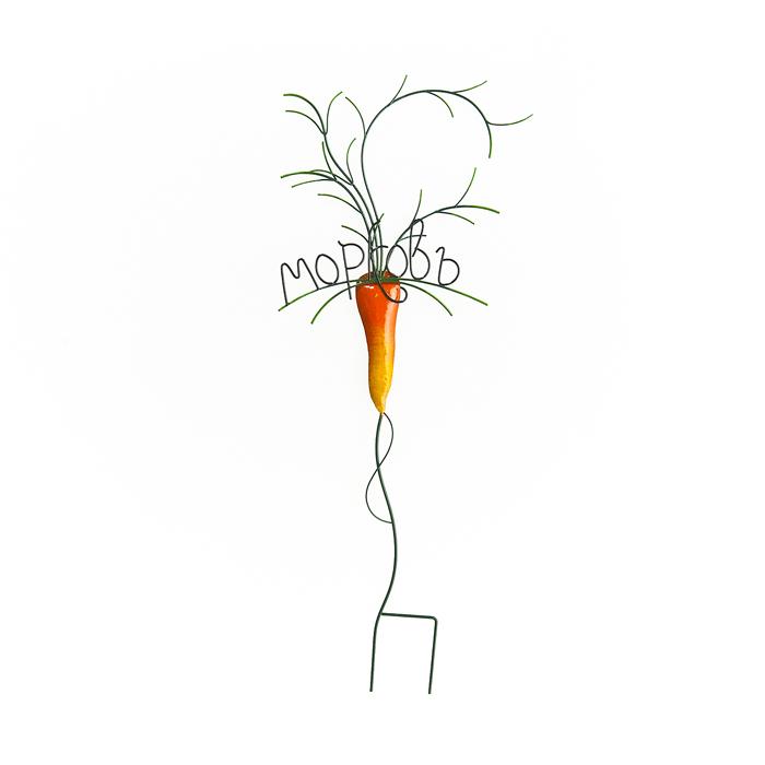 Украшение на ножке Village People Морковь, высота 62,5 см64590Украшение на ножке Village People Морковь - это полезный аксессуар, который поможет отличить всходы морковки от любых других. Табличка в ярком симпатичном дизайне изготовлена из прочного и надежного металла, она легко устанавливается в землю. Изделие украсит ваш сад и добавит в него ярких красок.