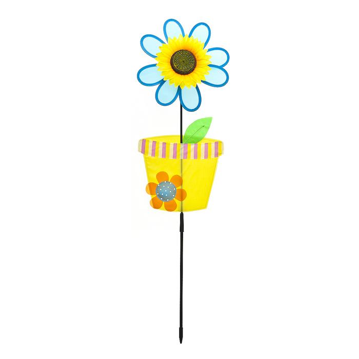 Декоративная фигура-вертушка Village People Цветок в горшочке, цвет: желтый, высота 90 см64575_3Ветряная фигурка-вертушка Village People Цветок в горшочке - это не только любимая всеми игрушка, но и замечательный способ отпугнуть птиц с грядок. Идеально подходит для декорирования садового участка, грядок и клумб. Изделие выполнено из нейлона и располагается на пластиковой палочке. Яркий дизайн изделия оживит ландшафт сада. Высота: 90 см. Диаметр вертушки: 25 см.