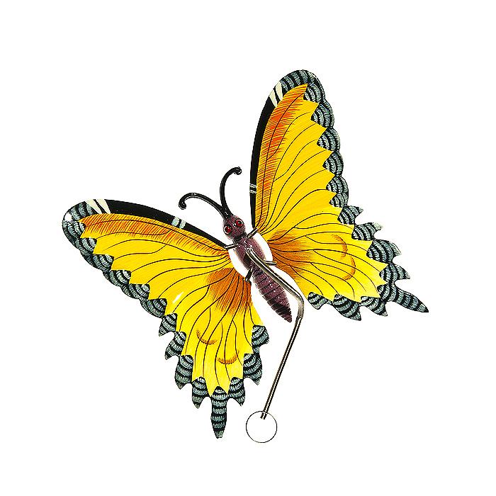 Украшение подвесное Village People Бабочки, цвет: желтый, 17,5 х 16 х 9 см64580_1Металлическое подвесное украшение Village People Бабочки украсит собой ваш сад и добавит в него ярких красок. Вы можете повесить её в любом месте сада. Изделие подвешивается с помощью пружины. Крылья бабочки прикреплены к тельцу пружинками, и при движении бабочки крылышки начинают шевелиться. Размер украшения: 17,5 см х 16 см х 17 см.