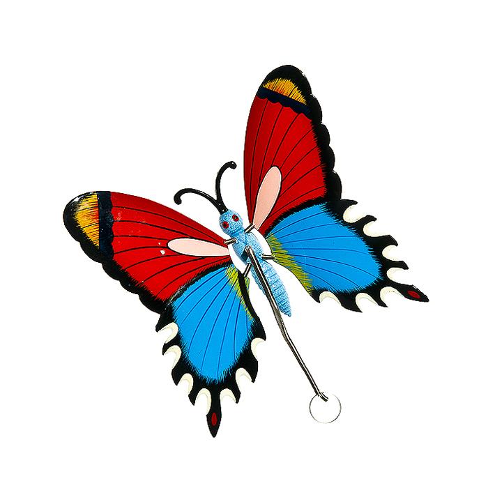 Украшение подвесное Village People Бабочки, цвет: красный, синий, 17,5 х 16 х 9 см64580_3Металлическое подвесное украшение Village People Бабочки украсит собой ваш сад и добавит в него ярких красок. Вы можете повесить ее в любом месте сада. Изделие подвешивается с помощью пружины. Крылья бабочки прикреплены к тельцу пружинками, и при движении бабочки крылышки начинают шевелиться.