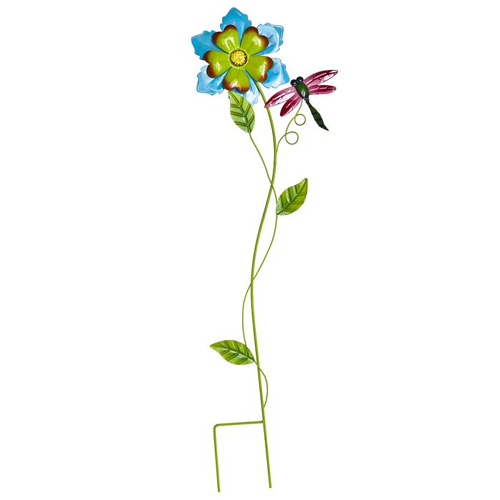 Украшение на ножке Village People Нежный цветок, цвет: синий, высота 66. 66985_266985_2Украшение на ножке Village People Нежный цветок изготовлено из металла и предназначено для украшения садового участка, грядок, клумб, для поддержки и правильного роста декоративных растений. Очень легко вставляется в землю. Диаметр цветка: 15 см. Размер стрекозы: 9 см х 11,5 см х 0,1 см. Высота: 66 см.