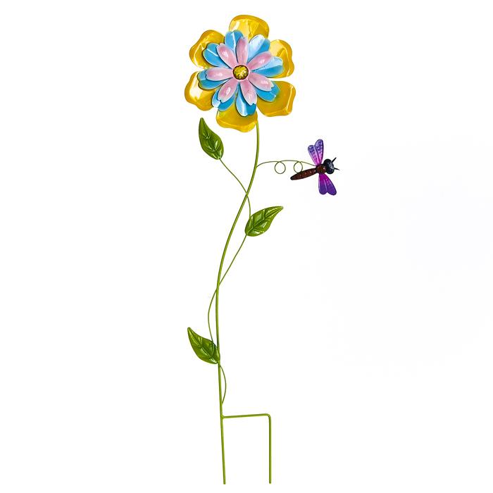 желтый Украшение на ножке Нежный цветок в асс., 1:20,8 х 66,5 см; 2;22 х 66,5 см; 3:20 х 66,5 см, металл. 66985_366985_3Украшение на ножке Нежный цветок предназначено для поддержки растений и декорирования садового участка, грядок, клумб.