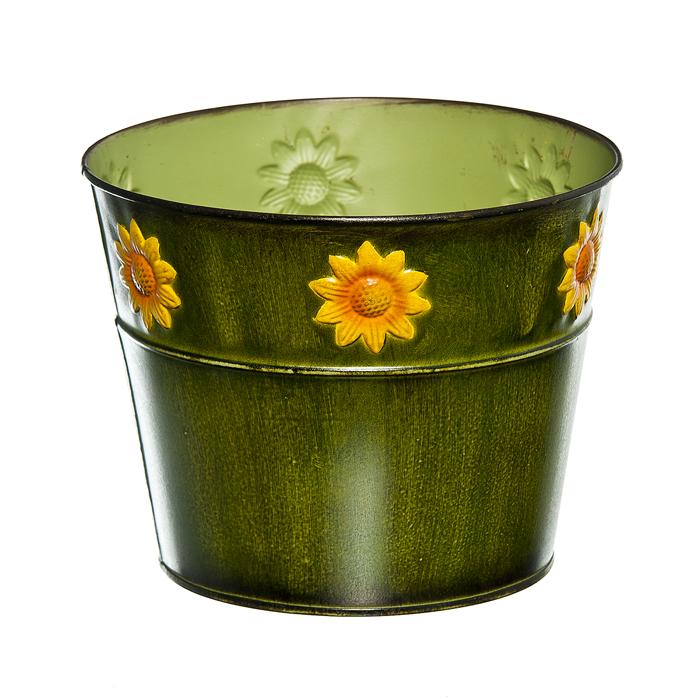 зеленый Декоративное кашпо под цветы Цветок солнца в асс, o(верхний-18,3; нижний-13,5) см х 14,5см, металл/40/4. 67063_167063_1Декоративное кашпо под цветы Цветок солнца предназначено для установки внутрь цветочных горшков с растениями. Благодаря такому кашпо вы сможете украсить вашу комнату, офис, сад и другие места. зеленый