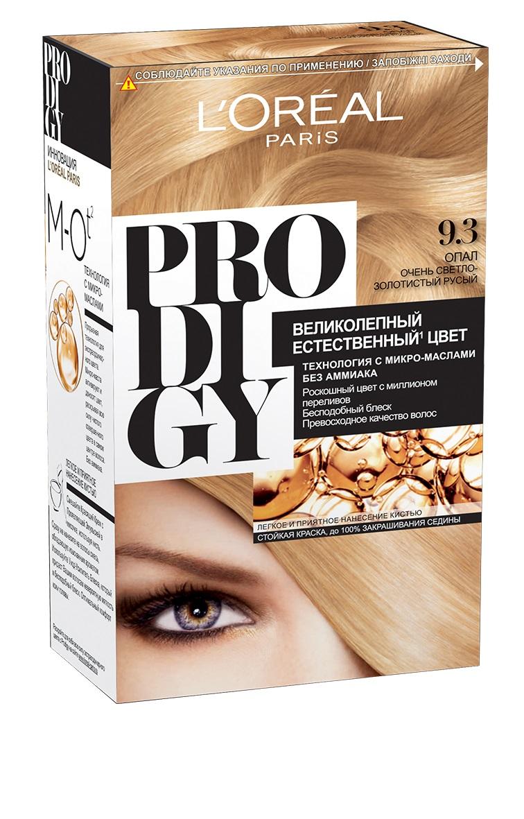 LOreal Paris Краска для волос Prodigy без аммиака, оттенок 9.3, ОпалA8562601Prodigy - инновация от Лореаль Париж - прорывная технология окрашивания с микро-маслами для экстраординарного цвета. Новая формула микро-масел с использованием ультратонких красящих пигментов позволяет создавать желаемый цвет, благодаря проникновению краски в самый центр волоса. Инновационная система микро-масел несет эффект сияющих волос за счет разглаживания их структуры по всей длине. В результате цвет получается невероятно насыщенным, с миллионами переливов различных оттенков. Совершенное и безопасное окрашивание без аммиака дает интенсивный стойкий цвет. Здоровые и безупречно гладкие волосы, которые завораживают своим зеркальным блеском и необыкновенно ярким цветом. В состав упаковки входит: красящий крем (60 г); проявляющая эмульсия (60 г); уход-усилитель блеска (60 мл); пара перчаток; инструкция по применению.