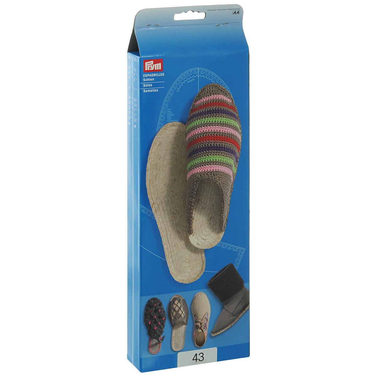 Подошвы для изготовления эспадрилий Prym, размер 43, 1 пара975107Набор Prym состоит из двух подошв 43 размера, изготовленных из резины и джута. Изделия предназначаются для изготовления эспадрилий. В комплекте имеется выкройка. Эспадрильи - это матерчатые тапочки на веревочной подошве, которые носятся на босу ногу. Их носят и мужчины, и женщины. Создайте своими руками такую обувь, которой ни у кого другого не будет! Размер подошв: 43. Материал: резина, джут.