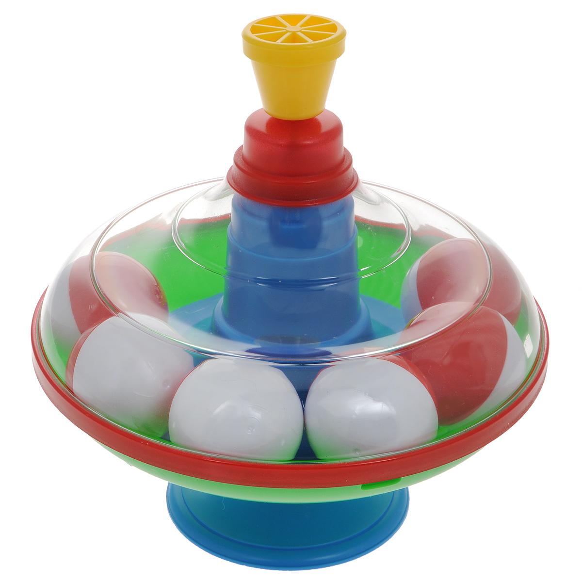 Юла Stellar, с шариками. 0132001320Яркая развивающая юла Stellar станет для вашего малыша любимой игрушкой. Юла выполнена из безопасного пластика в яркой цветовой гамме и дополнена устойчивой ножкой-подставкой. Внутри находятся шесть шариков. Стоит раскрутить юлу, нажав на ручку, и шарики вокруг центра игрушки завертятся веселым хороводом! Юла - динамическая игрушка для самых маленьких, которая стимулирует познавательную активность, развивает наглядно-действенное мышление, координацию движений и мелкую моторику рук. Порадуйте своего непоседу таким великолепным подарком!
