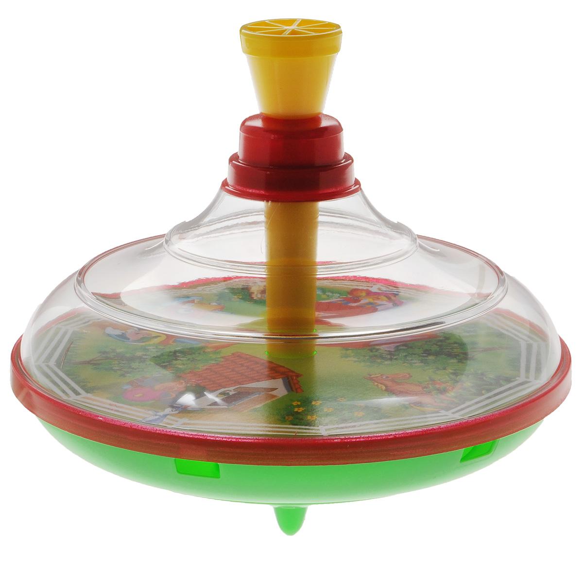 Юла Stellar Домик в деревне. 0132201332Яркая развивающая юла Stellar Домик в деревне станет для вашего малыша любимой игрушкой. Юла выполнена из безопасного пластика в яркой цветовой гамме и оформлена внутри красочными рисунками. Стоит раскрутить юлу, нажав на ручку, и рисунки завертятся веселым хороводом! Юла - динамическая игрушка для самых маленьких, которая стимулирует познавательную активность, развивает наглядно-действенное мышление, координацию движений и мелкую моторику рук. Порадуйте своего непоседу таким великолепным подарком!