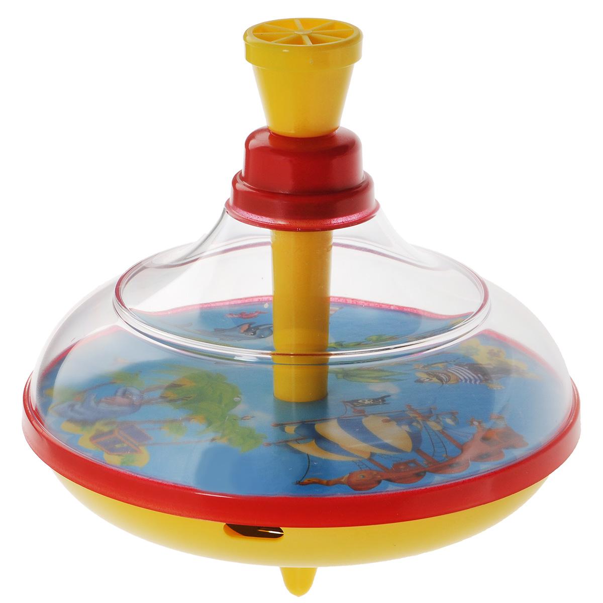 Юла Stellar Остров сокровищ. 0133101331Яркая развивающая юла Stellar Остров сокровищ станет для вашего малыша любимой игрушкой. Юла выполнена из безопасного пластика в яркой цветовой гамме и оформлена внутри красочными рисунками. Стоит раскрутить юлу, нажав на ручку, и рисунки завертятся веселым хороводом! Юла - динамическая игрушка для самых маленьких, которая стимулирует познавательную активность, развивает наглядно-действенное мышление, координацию движений и мелкую моторику рук. Порадуйте своего непоседу таким великолепным подарком!