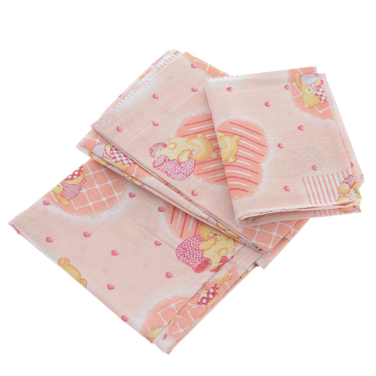 Комплект детского постельного белья Фея Мишки, цвет: розовый, 3 предмета5564-2Детский комплект постельного белья Фея Мишки состоит из наволочки, пододеяльника и простыни. Такой комплект идеально подойдет для кроватки вашего малыша и обеспечит ему здоровый сон. Он изготовлен из натурального 100% хлопка, дарящего малышу непревзойденную мягкость. Натуральный материал не раздражает даже самую нежную и чувствительную кожу ребенка, обеспечивая ему наибольший комфорт. Приятный рисунок комплекта, несомненно, понравится малышу и привлечет его внимание. На постельном белье Фея Мишки ваша кроха будет спать здоровым и крепким сном. Размер простыни: 100 см х 160 см. Размер наволочки: 40 см х 60 см. Размер пододеяльника: 110 см х 140 см. УВАЖАЕМЫЕ КЛИЕНТЫ! Обращаем ваше внимание на возможные изменения в дизайне, связанные с ассортиментом продукции: рисунок может отличаться от представленного на изображении.