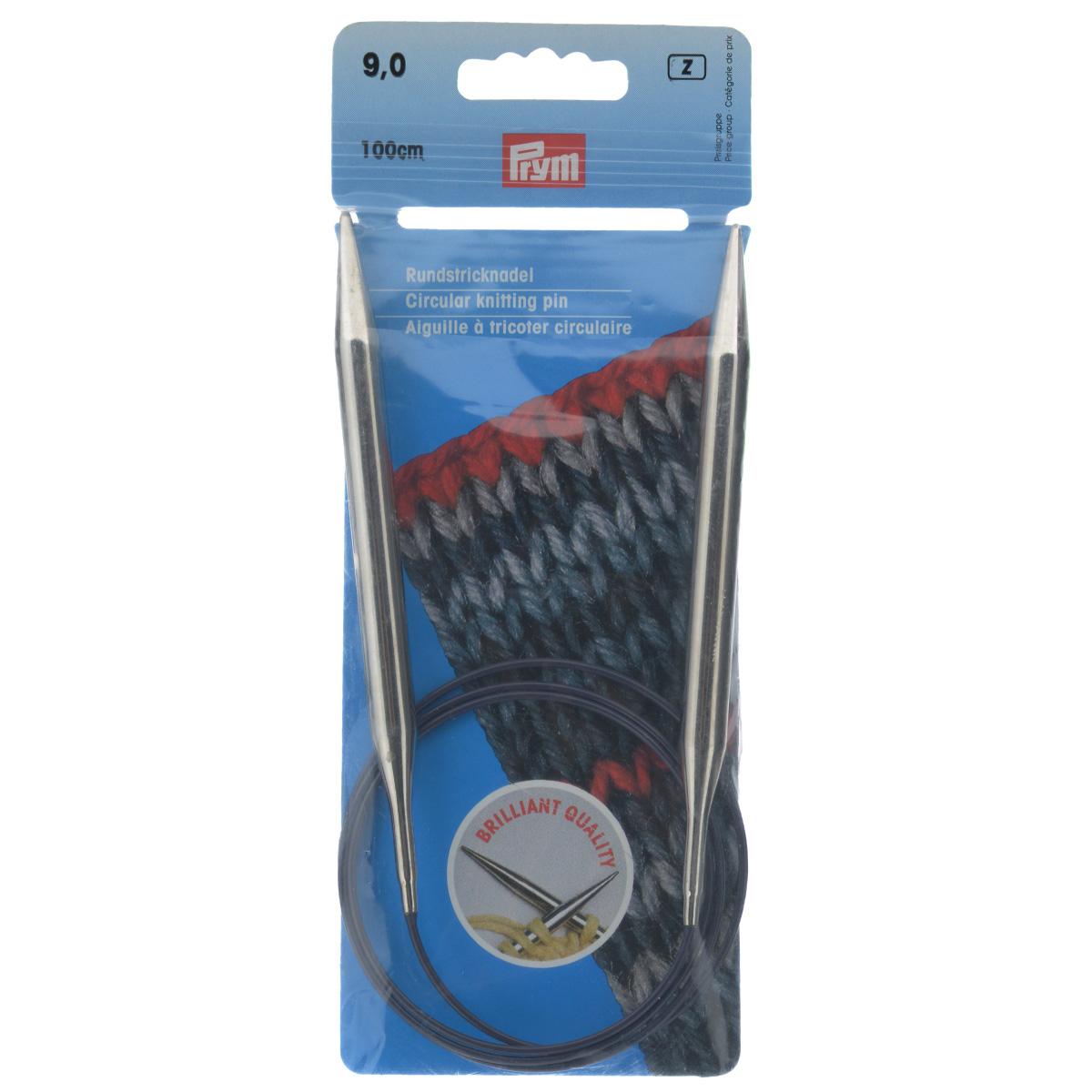 Спицы Prym, латунные, круговые, диаметр 9 мм, длина 100 см212226Спицы для вязания Prym изготовлены из латуни. Кончики спиц закругленные. Спицы скреплены гибким, пластиковым шнуром. Они прочные, легкие, гладкие, удобные в использовании. Круговые спицы наиболее удобны для выполнения деталей и изделий, не имеющих швов. Короткими круговыми спицами вяжут бейки горловины, воротники-гольф, длинными спицами можно вязать по кругу целые модели. Вы сможете вязать для себя, делать подарки друзьям. Рукоделие всегда считалось изысканным, благородным делом. Работа, сделанная своими руками, долго будет радовать вас и ваших близких. Диаметр: 9 мм. Материал: латунь, пластик.