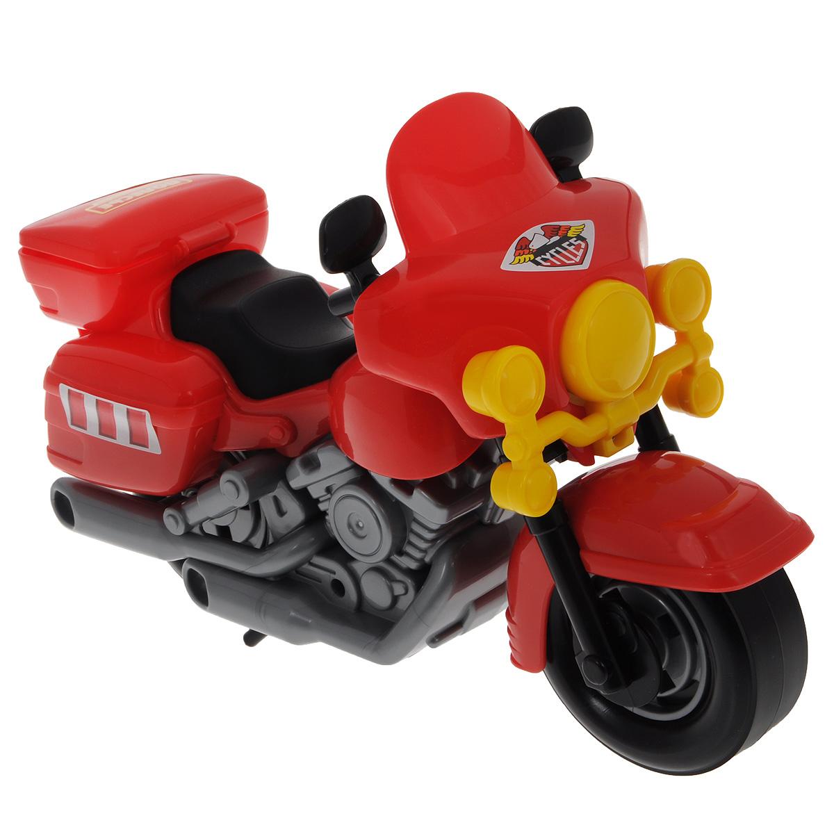 Полесье Полицейский мотоцикл Харлей цвет красный серый8947Яркая игрушка Полицейский мотоцикл Харлей привлечет внимание вашего малыша и не позволит ему скучать, ведь так интересно и захватывающе покатать свой спортивный мотоцикл или устроить гонку за преступником. Колеса мотоцикла крутятся, а руль может поворачиваться. Крышка багажника откидывается. Порадуйте своего непоседу такой замечательной игрушкой!