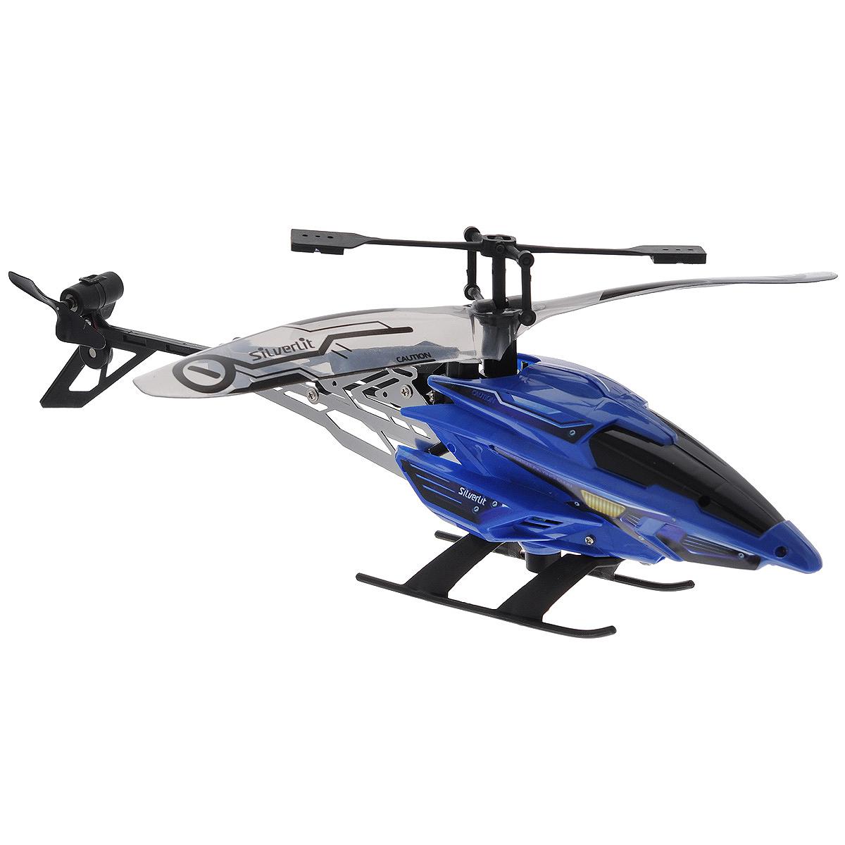 Silverlit Вертолет на радиоуправлении Silverlit цвет синий84621Радиоуправляемая игрушка Silverlit Вертолет - совершенно уникальная игрушка, которая понравится любому мальчишке, ведь вертолет не просто летает, но еще и зависает в воздухе. Вертолет имеет трехканальное управление, управляется с помощью специального пульта с USB-кабелем. Игрушка работает не только от пульта, идущего в комплекте, но и с использованием системы Bluetooth, которая обеспечивается через iPod, iPad или iPhone (для этого нужно скачать специальное программное обеспечение). Управлять вертолетом можно на расстоянии до 10 метров, при этом через Bluetooth можно управлять полетом даже тогда, когда вертолета нет в поле зрения. Имеется два режима управления: ручное и автоматическое. Вертолет выполнен из высококачественного пластика в копии настоящего воздушного транспорта. Во время полета раздаются реалистичные звуки работающего двигателя. Вертолет не просто летает вверх-вниз и вперед-назад, поворачивает направо и налево, но и совершает маневр парения в...
