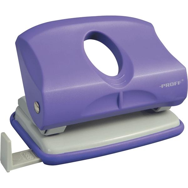 Дырокол средний Proff Burano, с линейкой, цвет: фиолетовый, на 15 листовPFa-2150-09nДырокол Proff Burano имеет надежный пластиковый корпус и металлическое основание. Внизу имеется крышечка, открыв которую можно удобно выбросить бумажные остатки. Пробивает 2 отверстия диаметром по 5,5 мм, способен пробить стопку бумаг из 15 листов. Расстояния между отверстиями 80 мм. В комплекте пластиковая линейка.