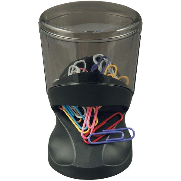 Подставка для скрепок Proff, магнитная, со скрепками, цвет: черный. PF-05332PF-05332Элегантная подставка для скрепок Proff, выполненная из пластика, позволяет удобно хранить скрепки и поддерживать аккуратный вид рабочего стола. Магнитная крышка подставки, выполненная в виде наклонного цилиндра, верхняя часть подставки из полупрозрачного пластика. В комплект с подставкой входят цветные скрепки.