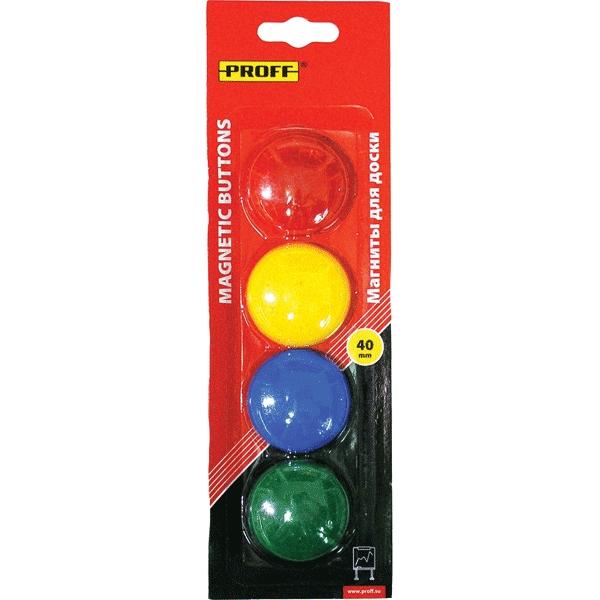 Магнит для доски Proff, диаметр 4 см, 4 штPF-12312Магнит для доски Proff предназначен для крепежа различной полиграфической продукции к магнитным доскам и прочим металлическим поверхностям. Магниты имеют цветное пластиковое покрытие.