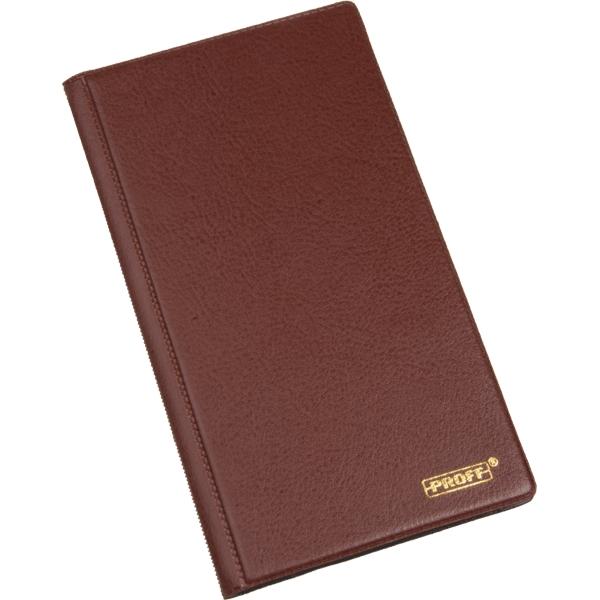 Визитница Proff, цвет: коричневый. PLF0205PLF0205Визитница Proff прекрасно подойдет для хранения визитных карточек. Обложка выполнена из искусственной кожи коричневого цвета. Внутри содержится блок из прозрачного мягкого пластика на 72 визитки. Каждый лист вмещает 3 визитки. Визитница - незаменимый аксессуар делового человека, который важно всегда носить с собой или хранить на своем рабочем столе.