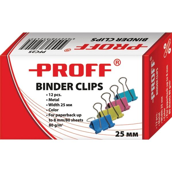 Зажимы для бумаг Proff, 25 мм, 12 штPFC25Металлические зажимы для бумаг Proff предназначены для временного скрепления листов, размером до 8 мм (80 листов, плотностью 80г/м2) стандартной бумаги. Зажимы для бумаг не мнут документы, не оставляют следов, имеют удобные ушки. Зажимы выполнены из высококачественной стали. С набором зажимов для бумаг Proff ваш рабочий стол всегда будет в порядке.