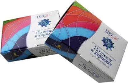 Краски акриловые по стеклу и керамике DEC ART, 6 цветов. 29-6.20-5029-6.20-50Краски полупрозрачные чистых ярких цветов. Позволяют использовать их для имитации витражей и нанесения рисунка на изделия из стекла, керамики, фарфора, фаянса. Специальная акриловая основа придает краске высокую прочность и адгезию при применении на гладких поверхностях, а также способность выдерживать механические воздействия. Краски готовы к применению, при необходимости разбавляются водой или акриловым лаком.