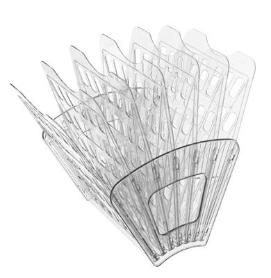 Лоток для бумаг Стамм, 7 секций, цвет: прозрачный. ЛТ43ЛТ43Лоток для бумаг Стамм выполнен в современном элегантном дизайне из высококачественного пластика с полированной гладкой поверхностью. Лоток состоит из двух боковых стоек и семи секций, на рабочем столе устанавливается как горизонтально, так и вертикально, имеет специальные отверстия для крепления на стену. Легко собирается и разбирается, имеет шесть отделений для листов формата А4. С лотком для бумаг Стамм у вас больше не возникнут сложности с поддержанием порядка на столе!
