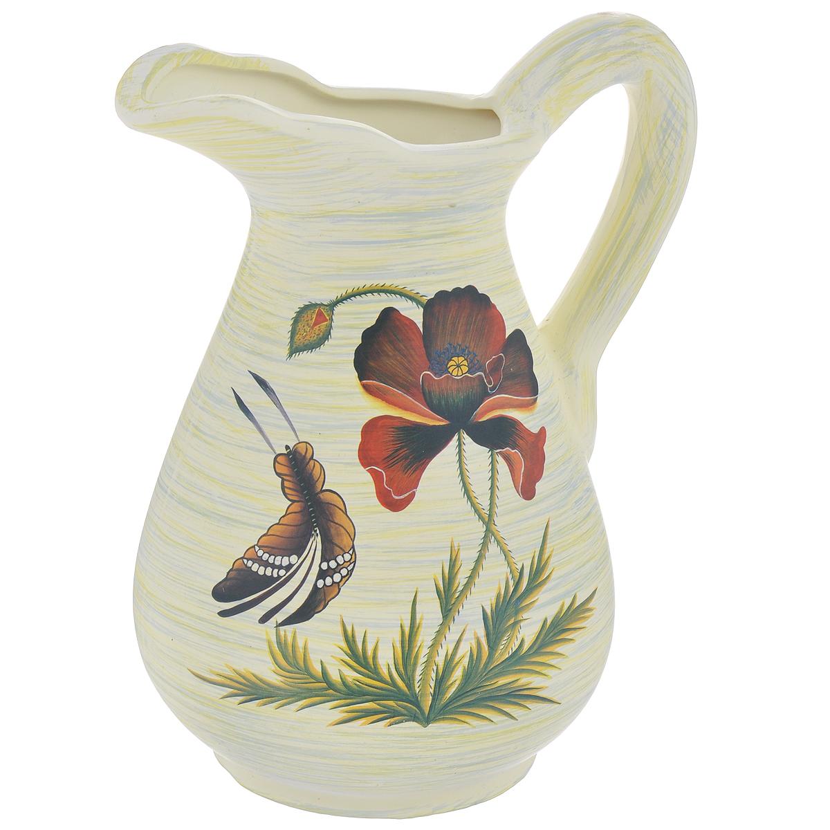 Ваза Lillo Маки и бабочка, высота 25 смLil 3056Элегантная ваза Lillo Маки и бабочка выполнена из высококачественной керамики в виде кувшина и декорирована рисунком. Она придется по вкусу и ценителям классики, и тем, кто предпочитает утонченность и изящность. Вы можете поставить вазу в любом месте, где она будет удачно смотреться и радовать глаз. Такая ваза подойдет и для цветов, и для декора интерьера. Кроме того - это отличный вариант подарка для ваших близких и друзей. Высота вазы: 25 см. Диаметр основания: 11,5 см.
