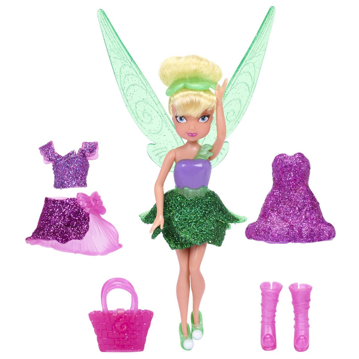 Disney Fairies Мини-кукла Tinks Pixie Sparkle Fashions818020_TinkОчаровательная кукла Disney Fairies Tinks Pixie Sparkle Fashions порадует любую девочку и обязательно станет ее любимой игрушкой. В комплект входит куколка-фея и ее наряды. Кукла выполнена из прочного пластика. Ее белокурые волосы уложены в стильную прическу. Куколка одета в сверкающее платье феи, ее волосы украшены заколкой в виде лепестков, а в руках у нее - розовая сумочка. Также в комплект входят дополнительные наряды - топ и юбка с блестками, высокие сапожки, и короткое розовое платье. Завершают сказочный образ полупрозрачные крылья феи. Голова, ручки и ножки куклы подвижны. Игры с куклой способствуют эмоциональному развитию ребенка, а также помогают формировать воображение и художественный вкус. Малышка проведет множество счастливых часов, играя с очаровательной феей. Великолепное качество исполнения делают эту игрушку чудесным подарком к любому празднику.