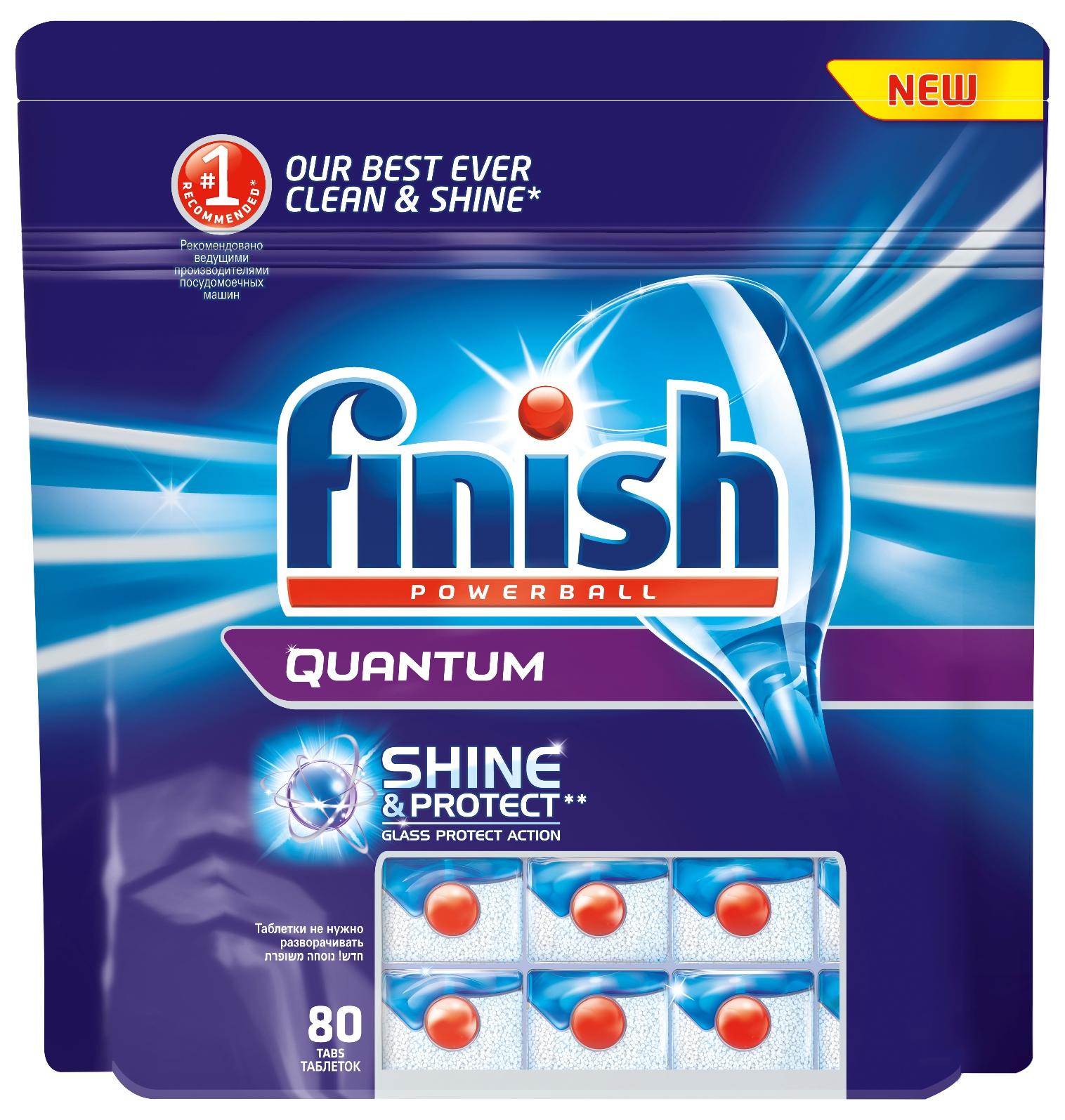 Finish Quantum Блеск и Защита, 80 таблеток10870Новый Finish Quantum Блеск и Защита - это удобные таблетки для посудомоечной машины, которые оказывают тройное действие против жира и грязи, а также придают исключительный блеск и защищают стеклянную посуду от коррозии. Состав: 30 и более триполифосфат натрия, 5% и более, но менее 15% кислородосодержащий отбеливатель, неионогенные ПАВ, поликарбоксилаты, менее 5% фосфаты, энзимы, ароматизаторы. Товар сертифицирован.
