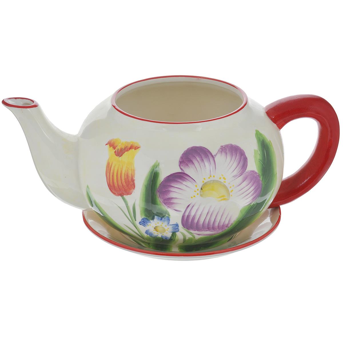 Кашпо Lillo Весенние цветы, с поддономXY10S012DКашпо-горшок для цветов Lillo Весенние цветы выполнен из прочной керамики в виде заварочного чайника с блюдцем. Изделие предназначено для цветов. Такие изделия часто становятся последним штрихом, который совершенно изменяет интерьер помещения или ландшафтный дизайн сада. Благодаря такому кашпо вы сможете украсить вашу комнату, офис, сад и другие места. Изделие оснащено специальным поддоном - блюдцем. Диаметр кашпо по верхнему краю: 14,5 см. Высота кашпо (без учета поддона): 16 см. Диаметр поддона: 23 см.