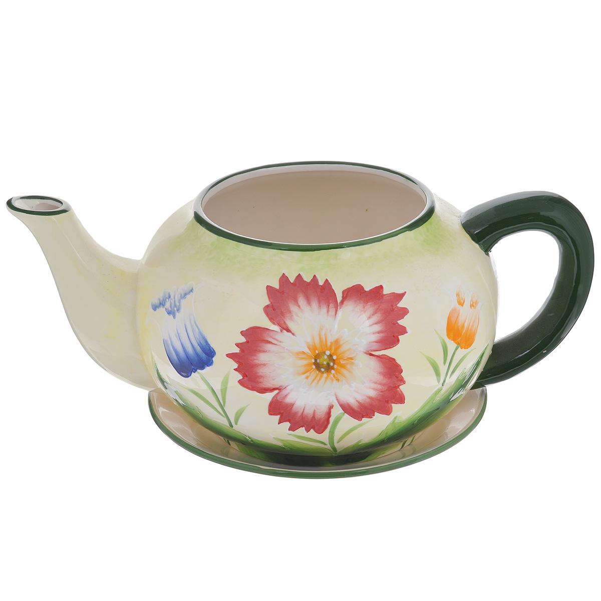 Кашпо Lillo Полевые цветы, с поддономXY10S012FКашпо-горшок для цветов Lillo Полевые цветы выполнен из прочной керамики в виде заварочного чайника с блюдцем. Изделие предназначено для цветов. Такие изделия часто становятся последним штрихом, который совершенно изменяет интерьер помещения или ландшафтный дизайн сада. Благодаря такому кашпо вы сможете украсить вашу комнату, офис, сад и другие места. Изделие оснащено специальным поддоном - блюдцем. Диаметр кашпо по верхнему краю: 14,5 см. Высота кашпо (без учета поддона): 16 см. Диаметр поддона: 23 см.