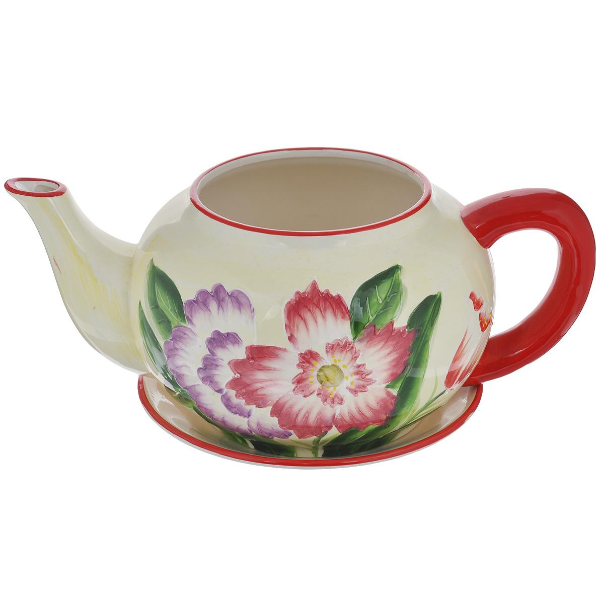 Кашпо Lillo Яркие цветы, с поддоном. XY10S012CXY10S012CКашпо-горшок для цветов Lillo Яркие цветы выполнен из прочной керамики в виде заварочного чайника с блюдцем. Изделие предназначено для цветов. Такие изделия часто становятся последним штрихом, который совершенно изменяет интерьер помещения или ландшафтный дизайн сада. Благодаря такому кашпо вы сможете украсить вашу комнату, офис, сад и другие места. Изделие оснащено специальным поддоном - блюдцем. Диаметр кашпо по верхнему краю: 14,5 см. Высота кашпо (без учета поддона): 16 см. Диаметр поддона: 23 см.