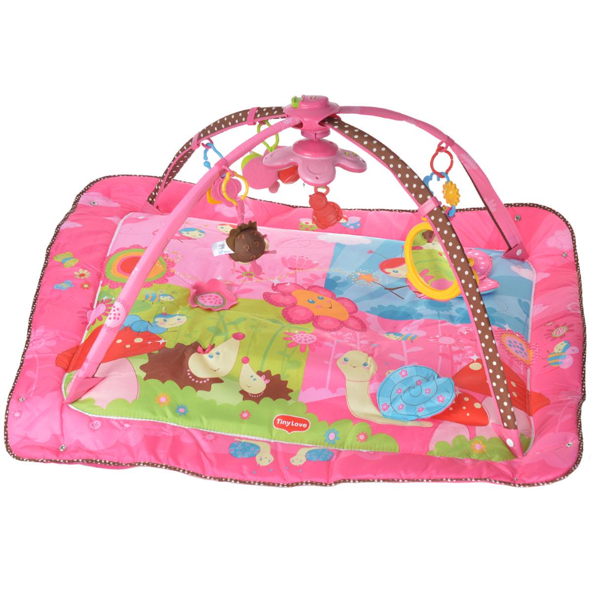Развивающий коврик Моя принцесса, 5 в 1, цвет: розовый1202906830Развивающий коврик Моя принцесса станет первой площадкой для игр вашей малышки. Коврик Моя принцесса - это сенсорный тренажер для ориентировки малыша в пространстве, насыщенный цветами, изображениями и объемными формами, также это чудесный мир персонажей, эмоционально близких маленькому ребенку. Прямоугольный набивной коврик выполнен из мягкого и приятного на ощупь материала с яркими цветными рисунками. На поверхности коврика изображены яркие насекомые с развивающими элементами, небо и красочные цветочки. С помощью пластиковых колечек, к коврику крепятся различные развивающие элементы: безопасное зеркало, погремушка с пятью маленькими рельефными колечками, кольцо с двумя прорезывателями, две мягкие игрушки с гремящими сферами внутри. Также коврик оснащен интерактивным музыкальным мобилем с мягким прорезывателем в виде божьей коровки и семью мелодиями. Коврик оборудован двумя съемными дугами, крепление которых можно легко передвигать в любую сторону, обеспечивая...