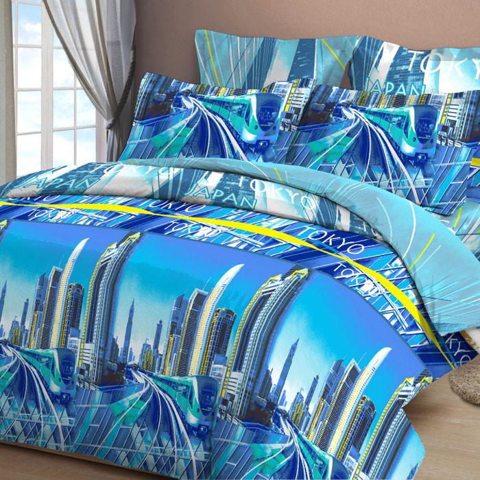 Комплект белья Letto, евро, наволочки 70х70, цвет: синий. B31-6