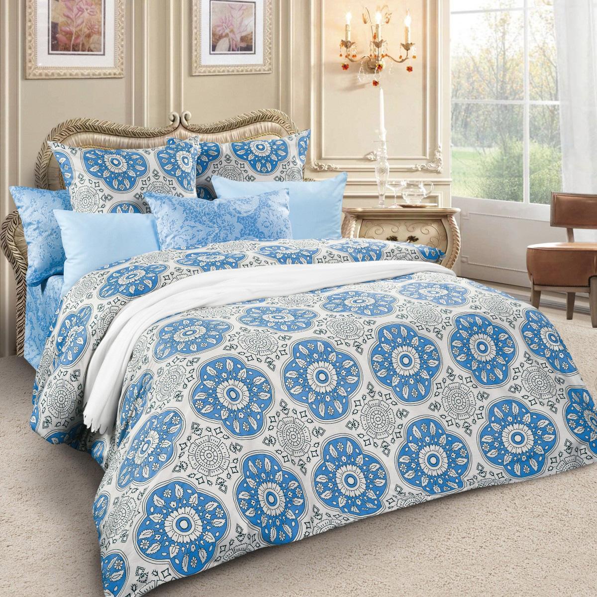 Комплект белья Letto, семейный, наволочки 70х70, цвет: серый, голубой. sm61-7
